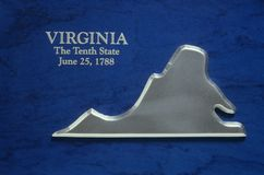 Silver Map of Virginia Royalty Free Stock Photo