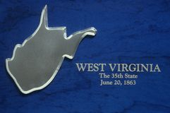 Silver Map of West Virginia Stock Images