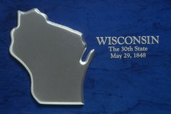 Silver Map of Wisconsin Royalty Free Stock Photos