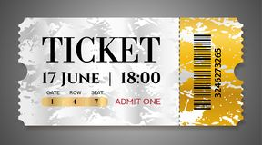 Admission ticket template. Vector mockup movie ticket tear-off With golden grunge pattern stock illustration