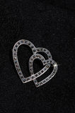 Silver and marcasite heart brooch. Royalty Free Stock Photography