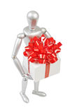 Silver marionette holding a white gift box Royalty Free Stock Photography