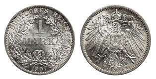 Silver mark coin Germany 1907 stock image