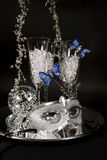 Silver Mask & Champagne Glasses Royalty Free Stock Photography