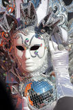 Silver mask with light twinkles at Carnival of Venice Stock Image