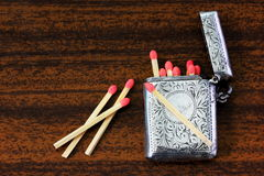 Silver match case Royalty Free Stock Image