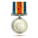Silver medal. With ribbon on white Stock Photography