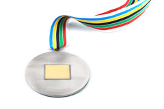 Silver medal. With empty space in the center isolated on white Royalty Free Stock Images