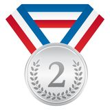 Silver medal. Award ceremony sport icon. Blue white and red ribbon. Silver medal. Award ceremony sport vector icon. Blue white and red ribbon Royalty Free Stock Image