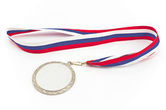 Silver medal with color stripes Stock Photo