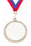 Silver medal with color stripes Royalty Free Stock Photo