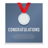 Silver Medal With Congratulations Card Royalty Free Stock Photo
