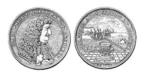Silver medal from 1681 of Frederick William Stock Photos