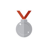Silver medal icon. Single high quality sign of silver prize for webdesign or mobile app. Silver award vector illustration. Color symbol on white background Stock Photography