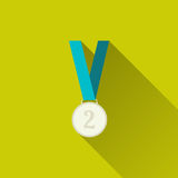 Silver medal icon. Silver medal winner, second place. Sport icon. Concept of victory, award, achievement, goal. Flat minimalism design style with long shadow Royalty Free Stock Photo