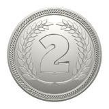 Silver Medal Isolated on White Background. 2nd Place Medal. 3D Illustration Royalty Free Stock Image