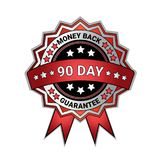 Silver Medal Money Back In 90 Days Guarantee Isolated Template Seal Icon. Vector Illustration Stock Photos