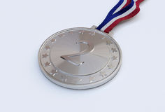 Silver medal with number Royalty Free Stock Image