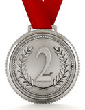 Silver medal with number two. 3D illustration.  Stock Image
