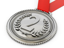 Silver medal with number two and laurels. 3D illustration Stock Image