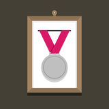 Silver Medal In A Picture Frame Stock Images