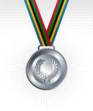 Silver medal with ribbons background Royalty Free Stock Photo