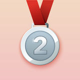 Silver medal for second prize. Stock Image