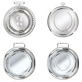 Silver Medal. Set of round decorative silver medals on white background Royalty Free Stock Image