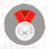 Silver Medal with star and red banner icon with grunge texture Stock Photos