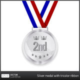 Silver medal with tricolor ribbon Royalty Free Stock Images