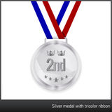 Silver medal with tricolor ribbon Stock Images