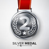 Silver Medal Vector. Metal Realistic Second Placement Achievement. Round Medal With Red Ribbon, Relief Detail Of Laurel Wreath And Royalty Free Stock Image