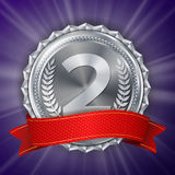 Silver Medal Vector. Round Championship Label. Ceremony Winner Honor Prize. Red Ribbon. Realistic Illustration. Silver Medal Vector. Silver 2nd Place Badge Royalty Free Stock Photography