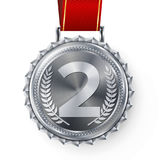 Silver Medal Vector. Silver 2nd Place Badge. Sport Game Silver Challenge Award. Red Ribbon. Isolated. Olive Branch. Silver Medal Vector. Silver 2nd Place Stock Photos