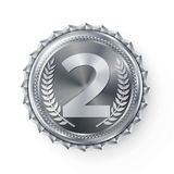 Silver Medal Vector. Silver 2nd Place. Ceremony Winner Honor Prize. Isolated On White. Olive Branch. Realistic. Silver Medal Vector. Round Championship Label Stock Images