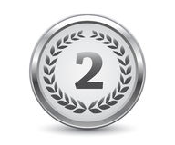 Silver medal. With wreath  on white background, vector illustration, eps9 Royalty Free Stock Photo