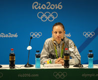 Silver medalist Angelique Kerber of Germany during press conference after tennis women`s singles final of the Rio 2016 Stock Photo