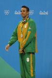 Silver medalist Chad le Clos of South Africa during medal ceremony after Men`s 200m freestyle of the Rio 2016 Olympics Royalty Free Stock Photography