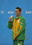 Silver medalist Chad le Clos of South Africa during medal ceremony after Men`s 200m freestyle of the Rio 2016 Olympics Stock Photo