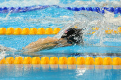 Silver medalist Connor Jaeger of United States in action during the men`s 1500 metre freestyle final of the Rio 2016 Olympic Games. RIO DE JANEIRO, BRAZIL Royalty Free Stock Photos