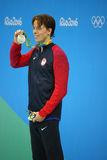 Silver medalist Connor Jaeger of United States during medal presentation at the men`s 1500 metre freestyle of the Rio 2016 Olympic. RIO DE JANEIRO, BRAZIL Royalty Free Stock Photo