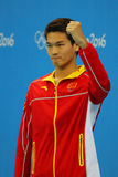 Silver medalist Jiayu Xu of China during medal ceremony after Men`s 100m backstroke of the Rio 2016 Olympics Stock Image