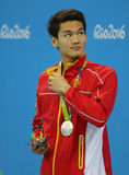 Silver medalist Jiayu Xu of China during medal ceremony after Men`s 100m backstroke of the Rio 2016 Olympics Royalty Free Stock Image