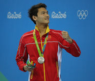 Silver medalist Jiayu Xu of China during medal ceremony after Men`s 100m backstroke of the Rio 2016 Olympics Royalty Free Stock Photography