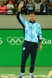 Silver medalist Juan Martin Del Potro of Argentina during tennis men`s singles medal ceremony of the Rio 2016 Olympic Games Stock Photography