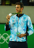 Silver medalist Juan Martin Del Potro of Argentina during tennis men`s singles medal ceremony of the Rio 2016 Olympic Games Stock Photo