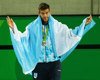 Silver medalist Juan Martin Del Potro of Argentina during tennis men`s singles medal ceremony of the Rio 2016 Olympic Games Royalty Free Stock Image