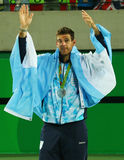 Silver medalist Juan Martin Del Potro of Argentina during tennis men`s singles medal ceremony of the Rio 2016 Olympic Games Stock Image