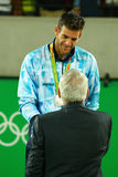 Silver medalist Juan Martin Del Potro of Argentina during tennis men`s singles medal ceremony of the Rio 2016 Olympic Games Royalty Free Stock Photos