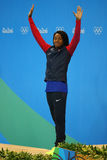Silver medalist Simone Manuel of United States during medal ceremony after Women`s 50 metre freestyle final of the Rio 2016. RIO DE JANEIRO, BRAZIL - AUGUST 13 stock images